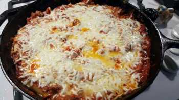 Lasagna in a Cast Iron Skillet