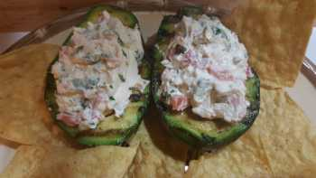 Grilled Avocado Stuffed with Spicy Cream Cheese and Shrimp!